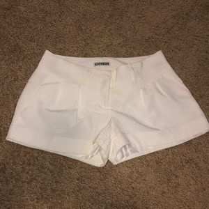Express White Pleated Shorts